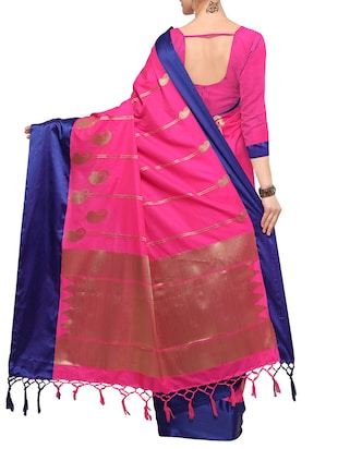 pink silk blend kanjivaram saree with blouse - 14491906 - Standard Image - 2