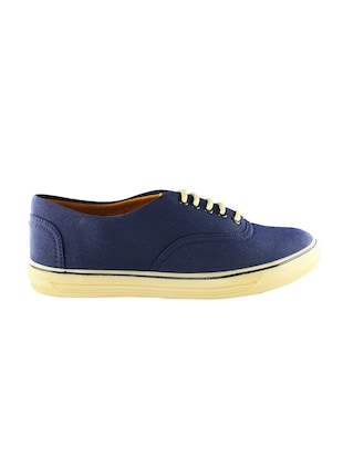 navy Canvas lace up sneaker - 14494478 - Standard Image - 2