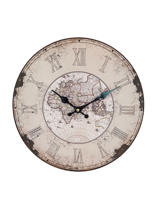 Distressed European Finish World Map Printed Wooden Vintage Wall Clock