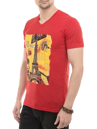 red cotton front print tshirt - 14494966 - Standard Image - 2