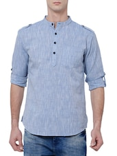 blue cotton short kurta -  online shopping for Kurtas