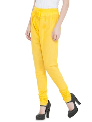 yellow cotton churidars - 14495432 - Standard Image - 2