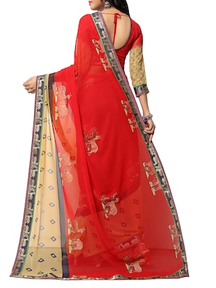 red georgette printed saree with blouse - 14496796 - Standard Image - 2