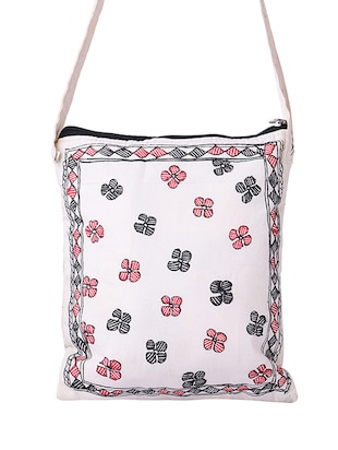 white cotton regular sling bag - 14497294 - Standard Image - 2