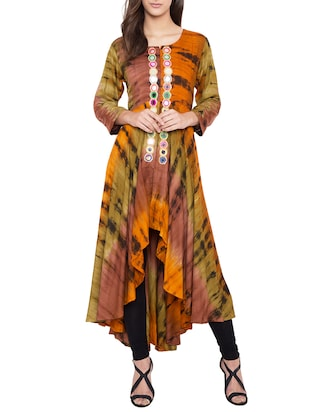 multi colored rayon high-low kurta