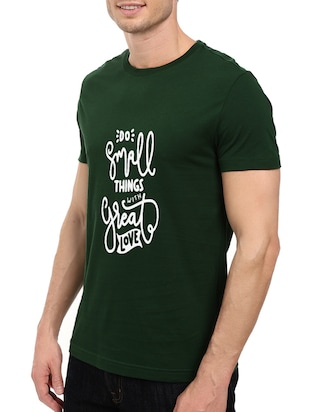 green cotton chest print tshirt - 14497507 - Standard Image - 2