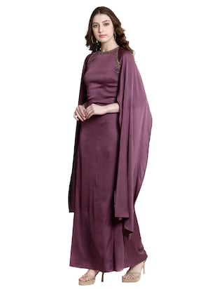 purple poly lycra gown dress - 14497712 - Standard Image - 2