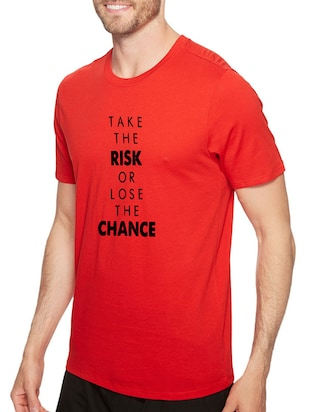 red cotton front print t-shirt - 14497735 - Standard Image - 2