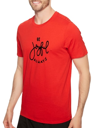 red cotton chest print tshirt - 14497745 - Standard Image - 2