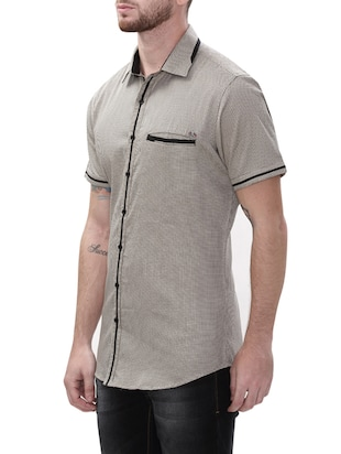 grey cotton casual shirt - 14498542 - Standard Image - 2