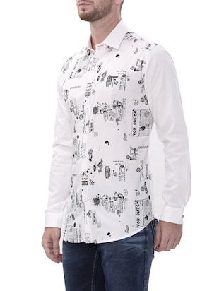 white cotton casual shirt - 14498570 - Standard Image - 2