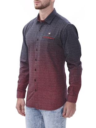 maroon cotton casual shirt - 14498573 - Standard Image - 2