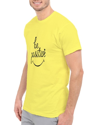 yellow cotton chest print tshirt - 14499490 - Standard Image - 2