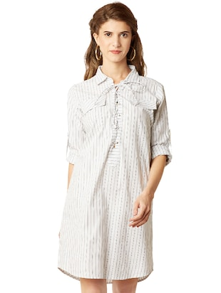 eyelet lace-up striped shift dress - 14499522 - Standard Image - 2