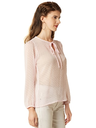 dobby detail tie-up neck top - 14499563 - Standard Image - 2