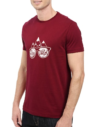 maroon cotton chest print tshirt - 14501598 - Standard Image - 2