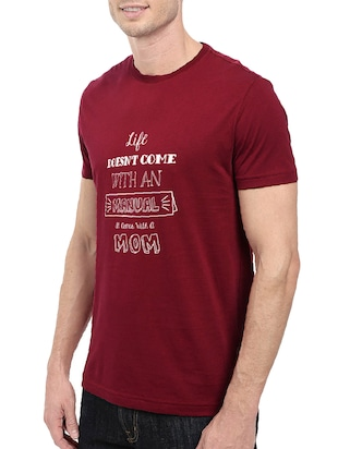 maroon cotton chest print tshirt - 14501608 - Standard Image - 2