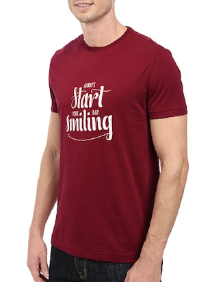 maroon cotton chest print tshirt - 14501626 - Standard Image - 2