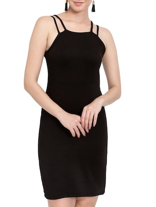 solid black bodycon dress - 14501664 - Standard Image - 2