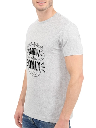 grey cotton chest print tshirt - 14502016 - Standard Image - 2
