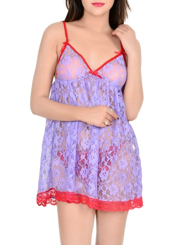 88cb8ee3a4 Buy Blue Satin Babydoll With Bra Panty Set by D Naked - Online ...