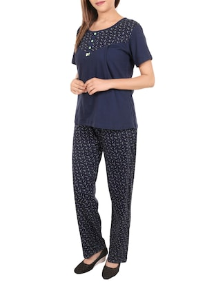 blue printed nightwear set - 14502085 - Standard Image - 2