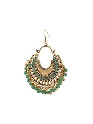green metal other earrings - 14502695 - Standard Image - 2