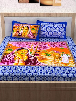152 TC Pure Cotton Traditional Rajasthani Printed Double Bed Sheet With 2 Pillow Covers - 14502826 - Standard Image - 2