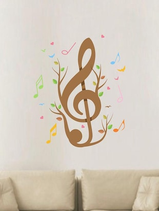 Creatick Studio Music Notes Birds & Hearts Wall Sticker Standard Size - 75Cm X 70Cm  Color - Multicolor - 14503921 - Standard Image - 2