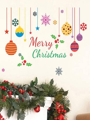 Creatick Studio Merry Christmas Colorful Snow , Candy , Gifts Wall Sticker Standard Size - 58 CM X 83 CM  Color - Multicolor - 14503934 - Standard Image - 2