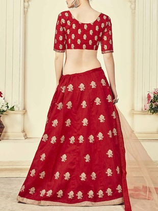 Red silk embroidered panelled lehenga - 14504175 - Standard Image - 2