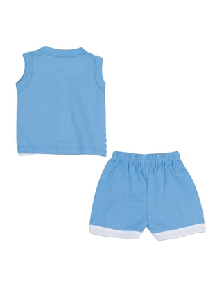 blue cotton shorts set - 14504271 - Standard Image - 2