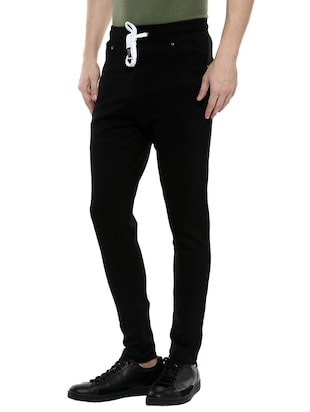 black cotton  full length track pant - 14504450 - Standard Image - 2