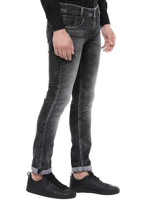 black cotton washed jeans - 14504558 - Standard Image - 2