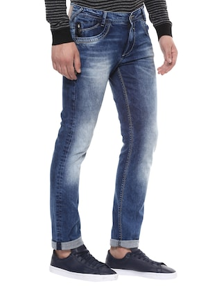 blue cotton washed jeans - 14504560 - Standard Image - 2