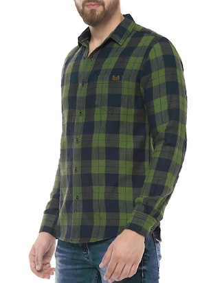 green cotton casual shirt - 14504677 - Standard Image - 2