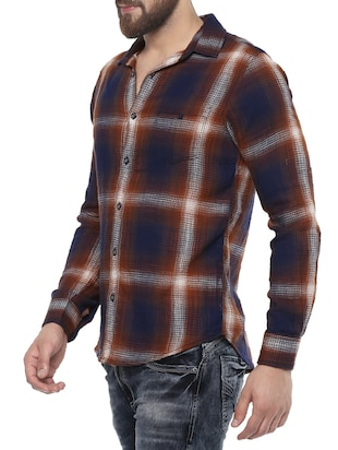 brown cotton casual shirt - 14504686 - Standard Image - 2
