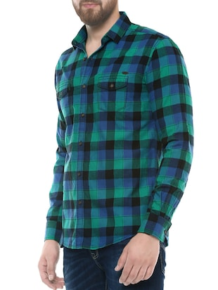 green cotton casual shirt - 14504688 - Standard Image - 2