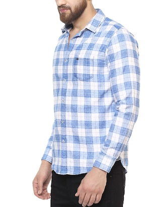 blue cotton casual shirt - 14504711 - Standard Image - 2