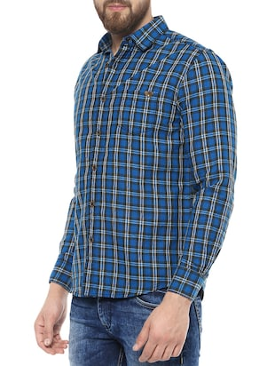 blue cotton casual shirt - 14504716 - Standard Image - 2