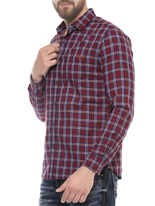 red cotton casual shirt - 14504717 - Standard Image - 2