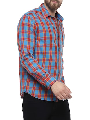 blue cotton casual shirt - 14504724 - Standard Image - 2