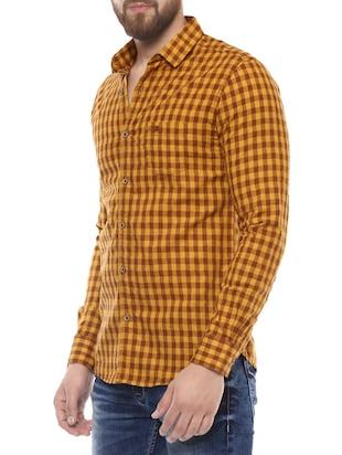 yellow cotton casual shirt - 14504730 - Standard Image - 2
