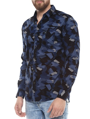 blue cotton casual shirt - 14504752 - Standard Image - 2