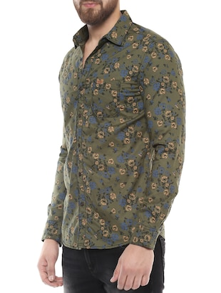 green cotton casual shirt - 14504756 - Standard Image - 2