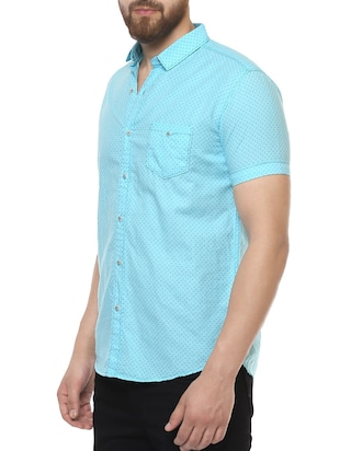 blue cotton casual shirt - 14504767 - Standard Image - 2