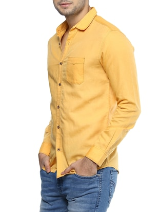 yellow cotton casual shirt - 14504783 - Standard Image - 2