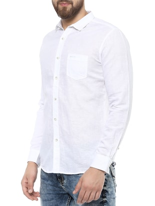 white cotton casual shirt - 14504928 - Standard Image - 2
