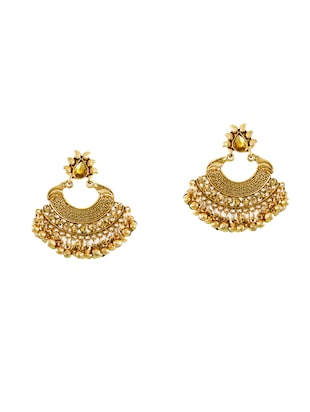 gold zinc chandballi earrings - 14506145 - Standard Image - 2