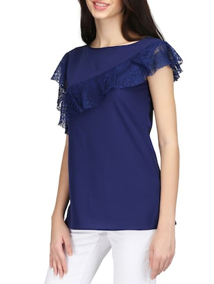 Ruffled lace detail top - 14506349 - Standard Image - 2
